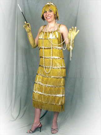 Flapper in Gold Fringe