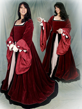 Upper Class Red Velvet Renassaince Dress